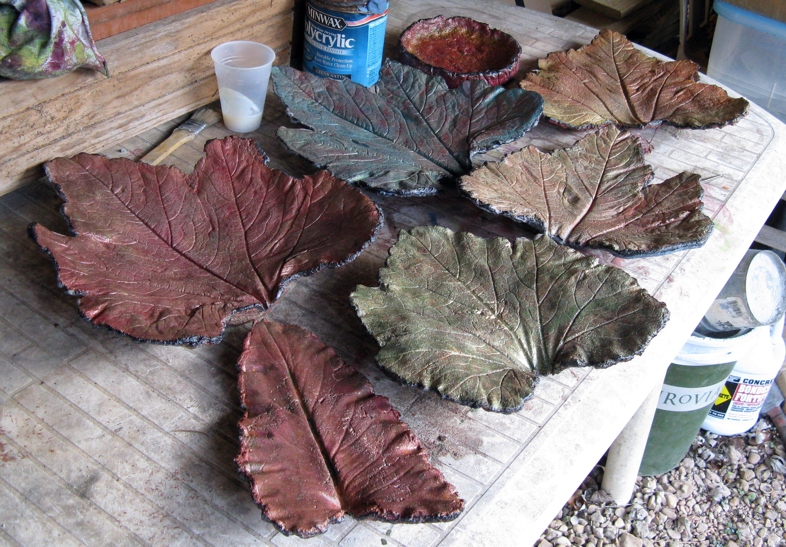 How to make leaf castings fairegarden for Craft cement mix